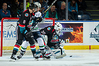 KELOWNA, CANADA - OCTOBER 10: Roman Basran #30 of the Kelowna Rockets makes a second period save against the Seattle Thunderbirds  on October 10, 2018 at Prospera Place in Kelowna, British Columbia, Canada.  (Photo by Marissa Baecker/Shoot the Breeze)  *** Local Caption ***