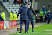 Sunderland AFC manager, Jack Ross and Luton Town caretaker manager, Mick Harford shake hands at the final whistle of the EFL Sky Bet League 1 match between Sunderland AFC and Luton Town at the Stadium Of Light, Sunderland, England on 12 January 2019.