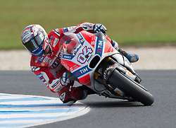 October 21, 2017 - Melbourne, Victoria, Australia - Italian rider Andrea Dovizioso (#4) of Ducati Team in action during the second qualifying practice session at the 2017 Australian MotoGP at Phillip Island, Australia. (Credit Image: © Theo Karanikos via ZUMA Wire)