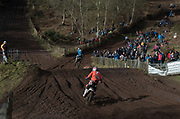 As the hill was closed for racing, Pauls Jonass follows English rider Rob Yates into the section used as diversion.