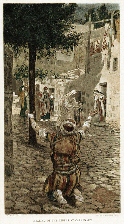Christ healing the lepers at Capernaum.  Mark I. From JJ Tissot 'The Life of Our Saviour Jesus Christ' c1890. Oleograph