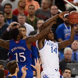 Apr 2, 2012; New Orleans, LA, USA; Kentucky Wildcats forward Michael Kidd-Gilchrist (14) is fouled by Kansas Jayhawks guard Elijah Johnson (15) during the first half in the finals of the 2012 NCAA men's basketball Final Four at the Mercedes-Benz Superdome. Mandatory Credit: Derick E. Hingle-US PRESSWIRE