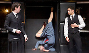 Loot <br /> by Joe Orton <br /> at Park Theatre, London, Great Britain <br /> press photocall <br /> 22nd August 2017 <br /> directed by Michael Fentiman <br /> <br /> Sam Frenchum as Hal <br /> <br /> Calvin Demba as Dennis <br /> <br /> <br /> Anah Ruddin as Mrs McLeavy <br /> <br /> <br /> <br /> Photograph by Elliott Franks <br /> Image licensed to Elliott Franks Photography Services