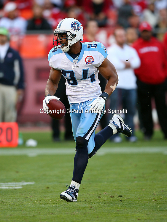 Tennessee Titans safety Chris Hope (24) runs back an intercepted pass in the fourth quarter during the NFL football game against the San Francisco 49ers, November 8, 2009 in San Francisco, California. The Titans won the game 34-27. (©Paul Anthony Spinelli)