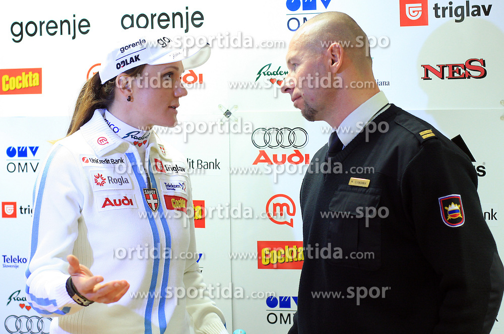 Petra Majdic and Miran Stanovnik at press conference of Slovenian Nordic team after victory of P. Majdic in Davos (Switzerland), on December 15, 2008, in Ljubljana, Slovenia. (Photo by Vid Ponikvar / Sportida)