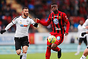 OSTERSUND, SWEDEN - APRIL 21: Brendan Hikes-Ine of Orebro SK and Alhaji Gero of Ostersunds FK during the Allsvenskan match between Ostersunds FK and Orebro SK at Jamtkraft Arena on April 21, 2018 in Ostersund, Sweden. Photo by Nils Petter Nilsson/Ombrello ***BETALBILD***