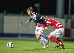 Falkirk's Rory Loy and Hamilton's Grant Gillespie.<br /> Falkirk 0 v 0 Hamilton, Scottish Championship game at The Falkirk Stadium. &copy; Michael Schofield 2014.