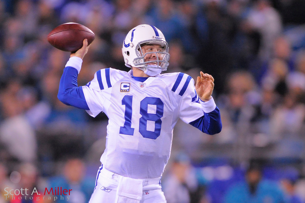 Dec. 17, 2009; Jacksonville, FL, USA; Indianapolis Colts quarterback Peyton Manning (18) in action during the second half of the Colts game against the Jacksonville Jaguars at Jacksonville Municipal Stadium. The Colts won the game 35-31. ©2009 Scott A. Miller.© 2009 Scott A. Miller