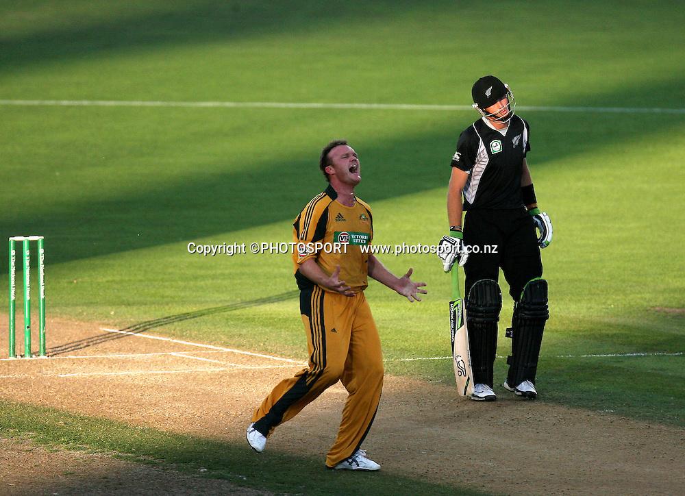Doug Bollinger celebrates bowling Brendon McCullum.  New Zealand Black Caps v Australia. 1st ODI, Chappell-Hadlee Trophy Series. McLean Park, Napier. Wednesday 03 March 2010  Photo: John Cowpland/PHOTOSPORT