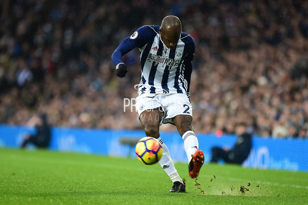 West Bromwich Albion defender Allan Nyom (2) gets in a cross during the Premier League match between West Bromwich Albion and Southampton at The Hawthorns, West Bromwich, England on 3 February 2018. Picture by Dennis Goodwin.