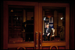 Mayor of London Boris Johnson  being interviewed by the bbc in hotel in Mumbai, Wednesday November 28, 2012. Photo by Andrew Parsons / i-Images