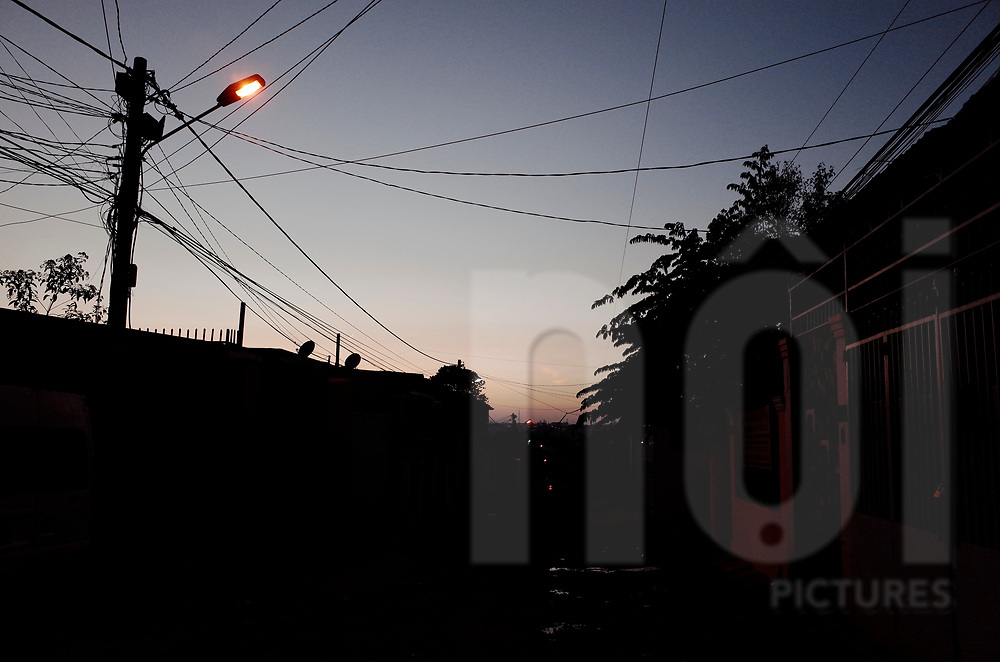Copy sapce of an electrical pole at dusk, Vietnam, Southeast Asia