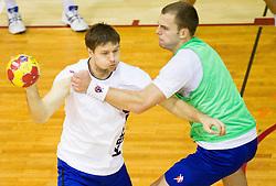 Marko Bezjak vs Uros Bundalo during the Training Camp before IHF Men's Handball World Championship Spain 2013 on January 9, 2013 in Zrece, Slovenia. (Photo By Vid Ponikvar / Sportida.com)