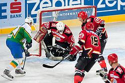 Andrej Vidmar vs Ales Petrovcic during ice-hockey friendly match between legends of HDD Tilia Olimpija and HK Acroni Jesenice, on April 14, 2012 at SRC Stozice, Ljubljana, Slovenia. (Photo By Matic Klansek Velej / Sportida.com)