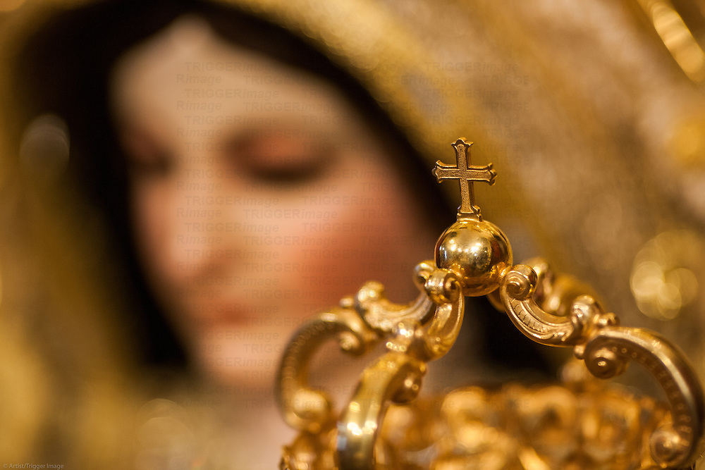 Detail from the crown of a Baby Jesus, San Martin church, Carrion de los Cespedes, Seville, Spain