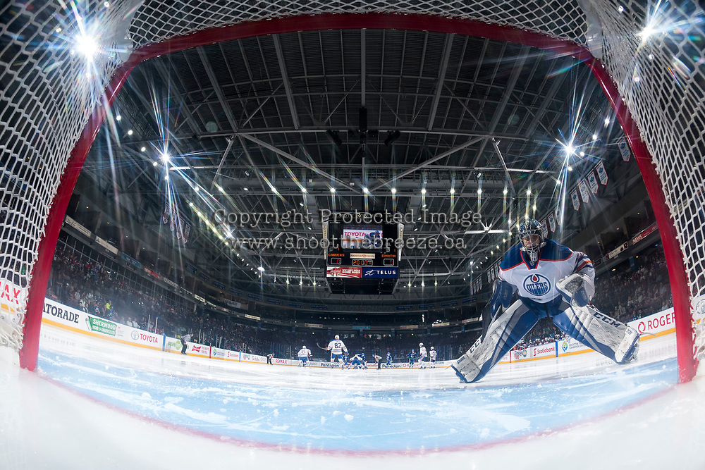 PENTICTON, CANADA - SEPTEMBER 11: Stuart Skinner #50 of Edmonton Oilers skates to the net at the start of the game against the Vancouver Canucks on September 11, 2017 at the South Okanagan Event Centre in Penticton, British Columbia, Canada.  (Photo by Marissa Baecker/Shoot the Breeze)  *** Local Caption ***