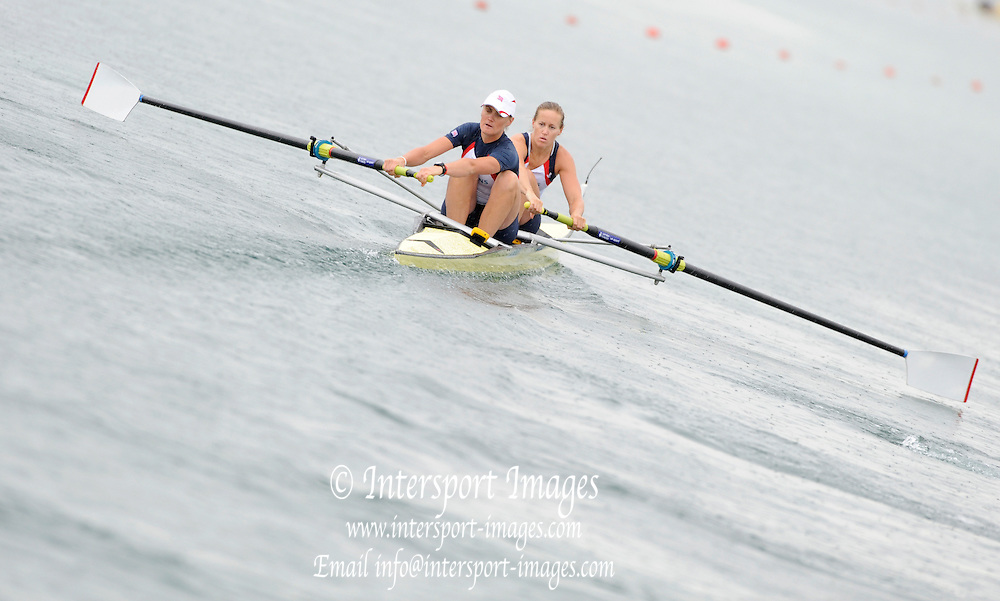 Munich, GERMANY, GBR W2-. Bow. Helen GLOVER and Heather STANNING. Move away from the pontoon in theTime trial heat Women's pair.  FISA World Cup on the Munich Olympic Rowing Course, Adaptive Rowing. Friday  27/05/2011  [Mandatory Credit Peter Spurrier/ Intersport Images].