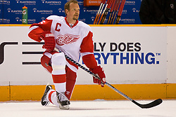 May 2, 2010; San Jose, CA, USA;  Detroit Red Wings defenseman Nicklas Lidstrom (5) before game two of the western conference semifinals of the 2010 Stanley Cup Playoffs against the San Jose Sharks at HP Pavilion.  San Jose defeated Detroit 4-3. Mandatory Credit: Jason O. Watson / US PRESSWIRE
