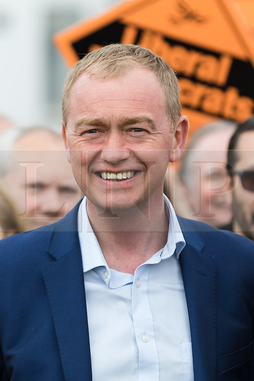 © Licensed to London News Pictures. 01/05/2017. LONDON, UK.  TIM FARRON, leader of the Liberal Democrats joins a general election campaign event with Liberal Democrats Member of Parliament candidate for Sutton and Cheam, AMNA AHMAD outside St Helier Hospital in Sutton, Surrey.  Photo credit: Vickie Flores/LNP