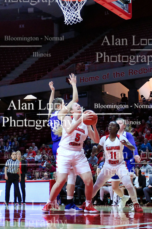 NORMAL, IL - January 06: Lexy Koudelka fakes to get off a shot from under the hoop during a college women's basketball game between the ISU Redbirds and the Drake Bulldogs on January 06 2019 at Redbird Arena in Normal, IL. (Photo by Alan Look)