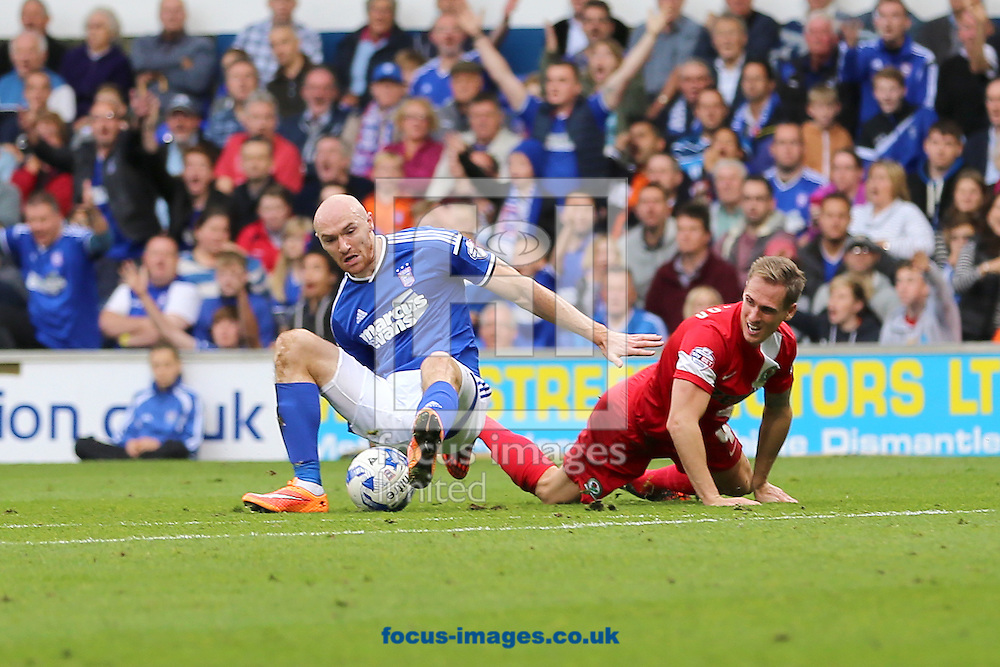 Matthew Kilgallon of Blackburn Rovers receives a red card for this foul on Conor Sammon of Ipswich Town during the Sky Bet Championship match at Portman Road, Ipswich<br /> Picture by Richard Calver/Focus Images Ltd +447792 981244<br /> 18/10/2014