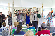 "Goshen, New York - Actors take their bows after performing in ""The Merry Wives of Windsor' outdoors at Salesian Park in Goshen on July 20, 2013. The Shakespeare in Salesian Park play was presented by Cornerstone Arts Alliance  and sponsored by the Goshen Public Library & Historical Society. ©Tom Bushey / The Image Works"