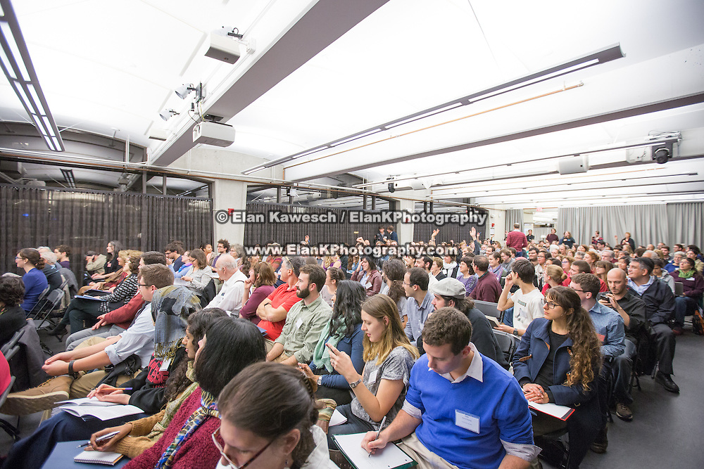 """""""If Not Now, When?"""" a conference put on by Open Hillel takes place at Harvard University on October 11, 2014 in Cambridge, Massachusetts. (Photo by Elan Kawesch/The Times of Israel)"""