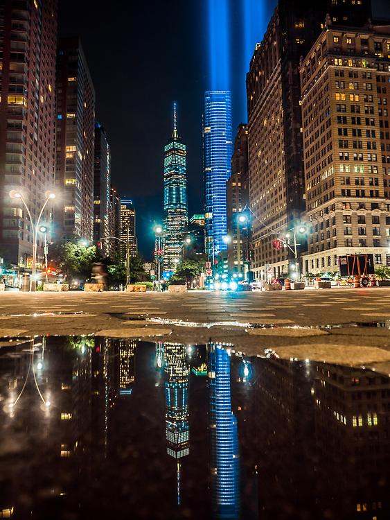 Freedom Tower,  Blue Lights, NYC