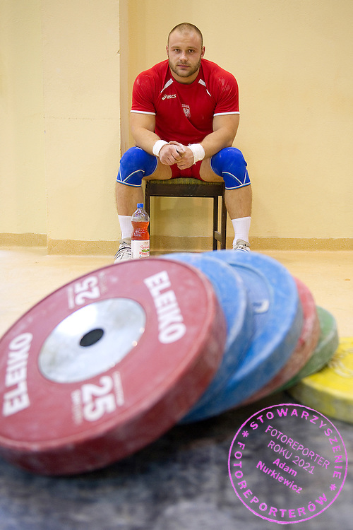 Kornel Czekiel from Poland (Budowlani Opole; category 105kg) during training session two weeks before weightlifting IWF World Championships Wroclaw 2013 at the Olympic Sports Centre in Spala on October 08, 2013.<br /> <br /> Poland, Warsaw, September 16, 2013<br /> <br /> Picture also available in RAW (NEF) or TIFF format on special request.<br /> <br /> For editorial use only. Any commercial or promotional use requires permission.<br /> <br /> Mandatory credit:<br /> Photo by &copy; Adam Nurkiewicz / Mediasport