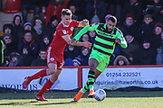 Forest Green Rovers Dan Wishart(17) runs forward during the EFL Sky Bet League 2 match between Accrington Stanley and Forest Green Rovers at the Wham Stadium, Accrington, England on 17 March 2018. Picture by Shane Healey.