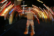 DJ (cq) Cassel looks through goggles in a simulated warfare training designed by Motion Reality, Inc. at the Interservice/Industry Training, Simulation and Education Conference (I/ITSEC) is an annual simulation training convention at the Orange Co. Convention Center, some 600 exhibitors, more than 10,000 expected to attend, Orlando, Wednesday, December 3, 2008. (Roberto Gonzalez/Orlando Sentinel)