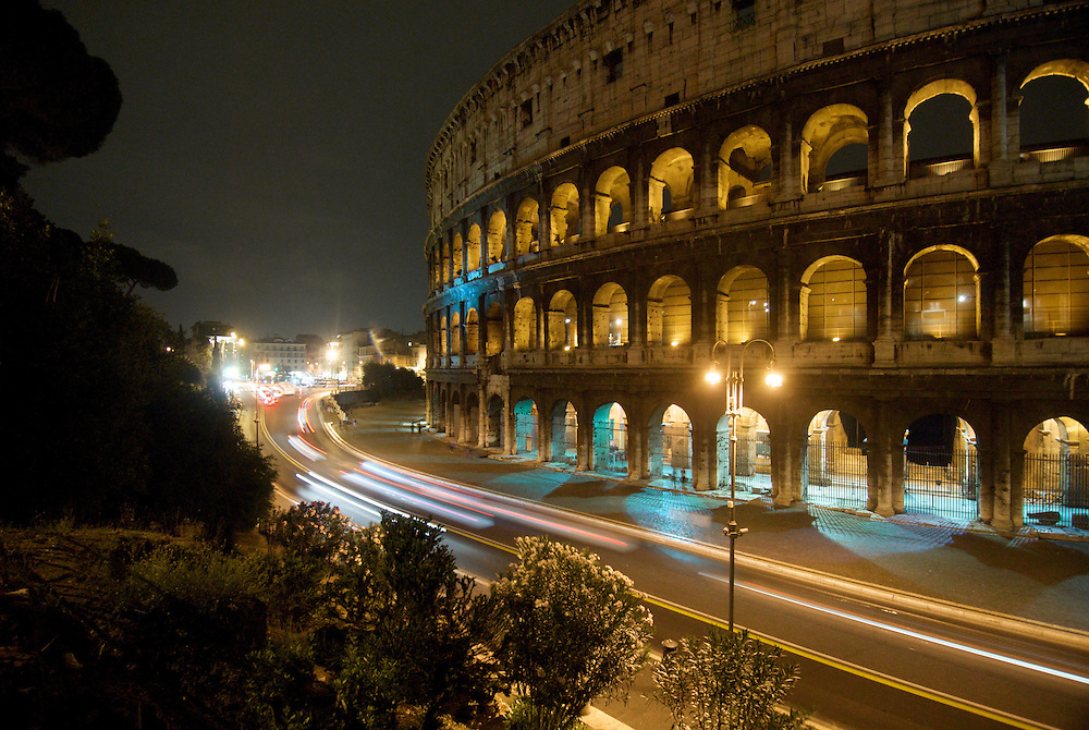The Colosseum at Night in Rome.<br />
