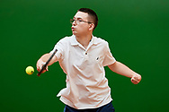 Chorzow, Poland - 2018 June 11: Special Olympics Athlete Adam Pajak competes in men's tennis competition during National Special Olympics Games 2018 at Slaski Stadium on June 11, 2018 in Chorzow, Poland.<br /> <br /> Adam Nurkiewicz declares that he has no rights to the image of people at the photographs of his authorship.<br /> <br /> Picture also available in RAW (NEF) or TIFF format on special request.<br /> <br /> Any editorial, commercial or promotional use requires written permission from the author of image.<br /> <br /> Image can be used in the press when the method of use and the signature does not hurt people on the picture.<br /> <br /> Mandatory credit:<br /> Photo by © Adam Nurkiewicz / Mediasport