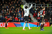 Everton forward Romelu Lukaku points to the sky after scoring Everton's second goal during the The FA Cup match between Bournemouth and Everton at the Goldsands Stadium, Bournemouth, England on 20 February 2016. Photo by Graham Hunt.