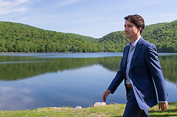 Prime Minister Justin Trudeau departs after announcing his government's intention to ban single-use plastics as early as 2021 during a news conference in Mont-Saint-Hilaire, Quebec, Canada, on Monday June 10, 2019. Photo by Paul Chiasson/CP/ABACAPRESS.COM