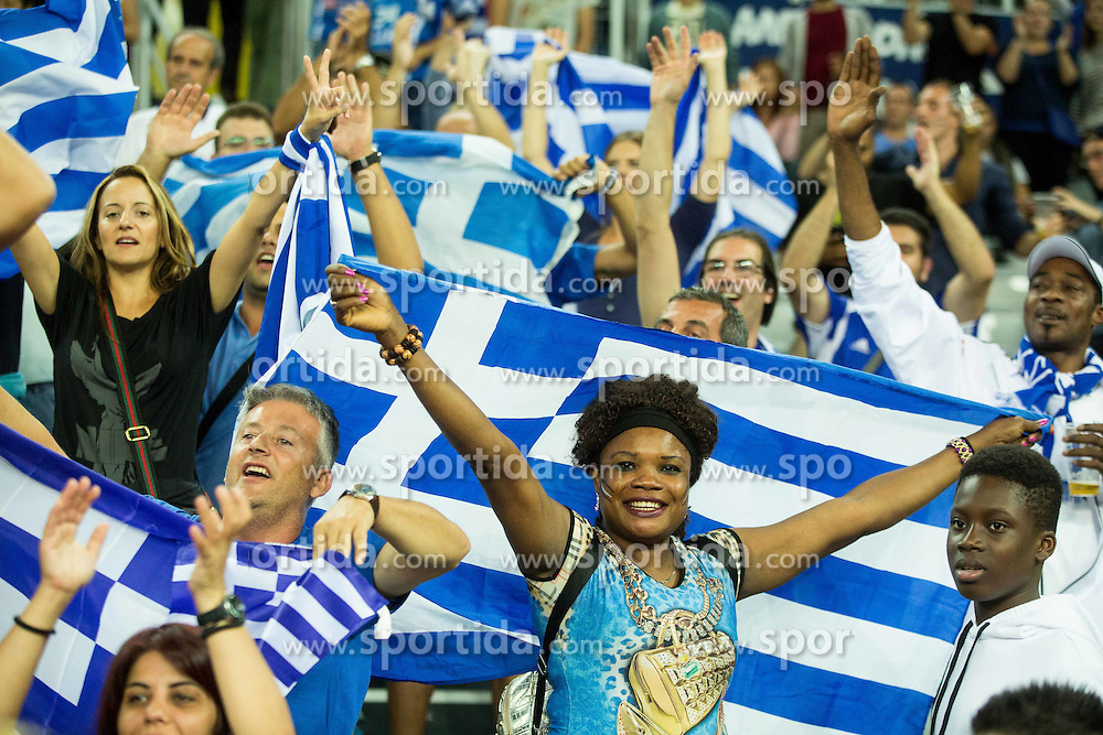 Supporters of Greece during basketball match between FYR of Macedonia and Greece at Day 1 in Group C of FIBA Europe Eurobasket 2015, on September 5, 2015, in Arena Zagreb, Croatia. Photo by Vid Ponikvar / Sportida