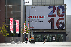 © Licensed to London News Pictures . 23/09/2016 . Liverpool , UK . Preparations at the Liverpool Arena and Convention Centre ahead of the Labour Party Leadership Declaration and 2016 Conference . Photo credit : Joel Goodman/LNP