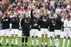 LIVERPOOL, ENGLAND - SUNDAY MARCH 27th 2005: Celebrities line-up before the Tsunami Soccer Aid match at Anfield. L-R: xxxx, Paul Salt, Paul Harrison (Liverpool FC), Stephen Fletcher, James Redmond, Marcus Patrick, John Regis and Amir Khan. (Pic by David Rawcliffe/Propaganda)