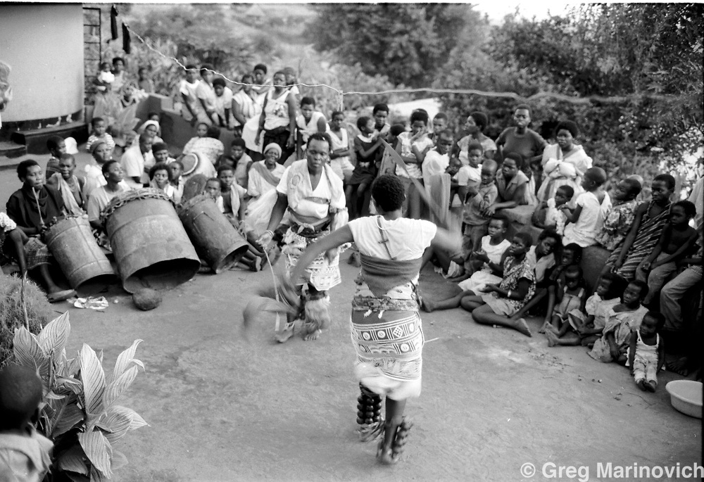 dancers at initiation of an Ndau medium / diviner at Dolly Village, Venda, South Africa Feb 4, 1991. (Greg Marinovich)