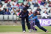 Lancashires Keaton Jennings during the Royal London 1 Day Cup match between Lancashire County Cricket Club and Derbyshire County Cricket Club at the Emirates, Old Trafford, Manchester, United Kingdom on 2 May 2019.