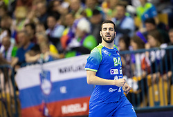 Mario Sostaric of Slovenia reacts during handball match between National teams of Slovenia and Netherlands in Qualifications of 2020 Men's EHF EURO, on April 14, 2019, in Arena Zlatorog, Celje, Slovenia. Photo by Vid Ponikvar / Sportida