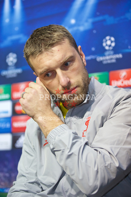 SOFIA, BULGARIA - Tuesday, November 25, 2014: Liverpool's Rickie Lambert during a press conference ahead of the UEFA Champions League Group B match against PFC Ludogorets Razgrad at the Vasil Levski National Stadium (Pic by David Rawcliffe/Propaganda)