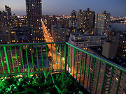 Balcony looking out over first Avenue and up town New York City