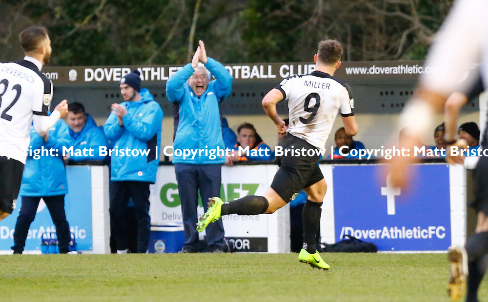 FEBRUARY 24:  Dover Athletic against Eastleigh in Conference Premier at Crabble Stadium in Dover, England. Dover's manager Chris Kinnear shows his delight at Dover's striker Ricky Miller third goal. (Photo by Matt Bristow/mattbristow.net)