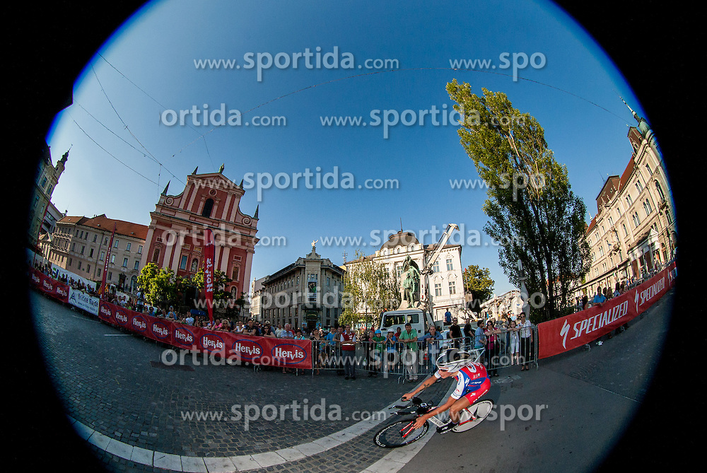 Primoz Roglic (SLO) of Adria Mobil competes during Stage 1of  cycling race 20th Tour de Slovenie 2013 - Time Trial 8,8 km in Ljubljana,  on June 12, 2013 in Slovenia. (Photo By Vid Ponikvar / Sportida)