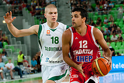 Krunoslav Simon of Croatia and Edo Muric of Slovenia at friendly match between Slovenia and Croatia for Adecco Cup 2011 as part of exhibition games before European Championship Lithuania on August 8, 2011, in SRC Stozice, Ljubljana, Slovenia. (Photo by Matic Klansek Velej / Sportida)