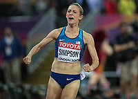 Athletics - 2017 IAAF London World Athletics Championships - Day Three, Evening Session<br /> <br /> Womens 1500m Final <br /> <br /> Jennifer Simpson (United States) reacts after finishing in the silver medal position at the London Stadium<br /> <br /> COLORSPORT/DANIEL BEARHAM
