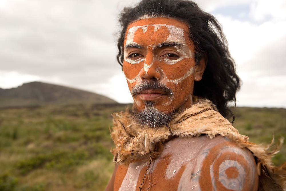 Indigenous Rapa Nui man with body paint on Easter Island, Chile