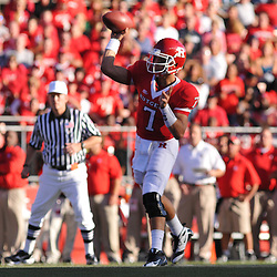 Sep 19, 2009; Piscataway, NJ, USA; Rutgers quarterback Tom Savage (7) makes a pass during the first half of NCAA college football between Rutgers and Florida International at Rutgers Stadium.