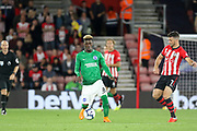 Brighton and Hove Albion midfielder Yves Bissouma (8) battles with Southampton striker Shane Long (7) during the Premier League match between Southampton and Brighton and Hove Albion at the St Mary's Stadium, Southampton, England on 17 September 2018.